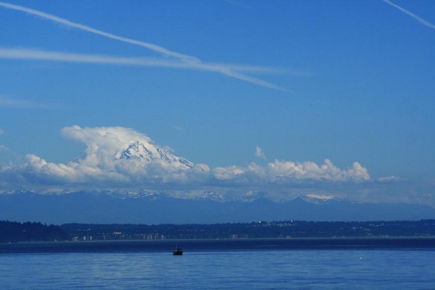 Mount Rainier, seen across Puget Sound from Vashon Island
