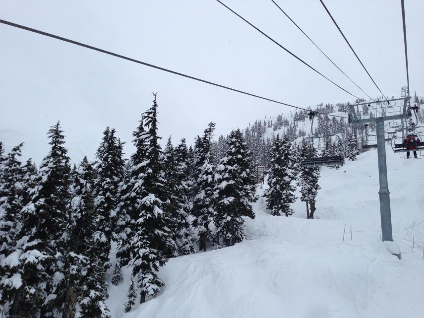 Tree skiing off Crystal Ridge lift