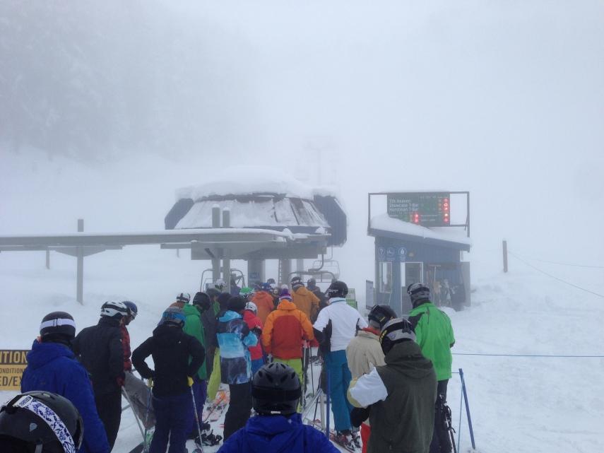 Glacier Express queue on a powder day