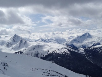 Of the two prominent peaks here, the left one is Fissile Mountain, and on the right is Isosceles Peak. From Horstman Hut on Blackcomb Mountain.