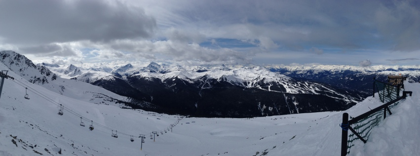 Panorama of Whistler Mountain, seen from Horstman Hut on Blackcomb