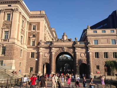 Passageway through the Parliament House, the most dramatic way to enter Gamla Stan