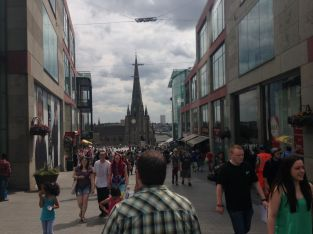 Walking towards St. Martin's church, which is surrounded by a new mall
