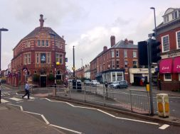 One end of the High Street in Harborne